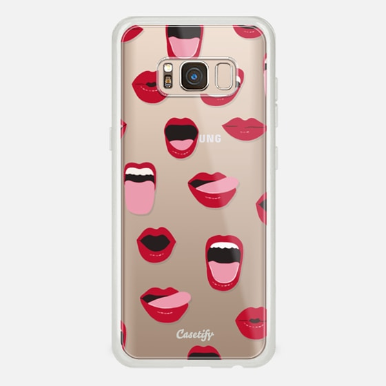Galaxy S8 Case - Valentines Sexy Lips and Kisses Transparent Loves Pink Miniature Version