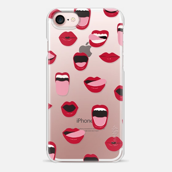 iPhone 7 Case - Valentines Sexy Lips and Kisses Transparent Loves Pink Miniature Version
