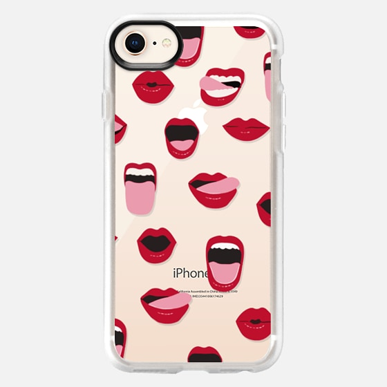 iPhone 8 保護殼 - Valentines Sexy Lips and Kisses Transparent Loves Pink Miniature Version
