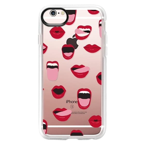 iPhone 6s Funda - Valentines Sexy Lips and Kisses Transparent Loves Pink Miniature Version