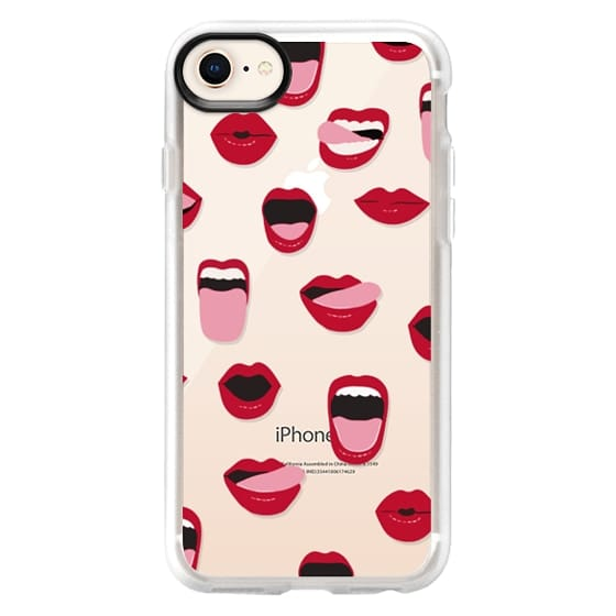 iPhone 8 Case - Valentines Sexy Lips and Kisses Transparent Loves Pink Miniature Version