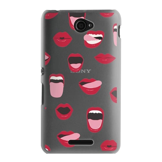 Sony E4 Cases - Valentines Sexy Lips and Kisses Transparent Loves Pink Miniature Version