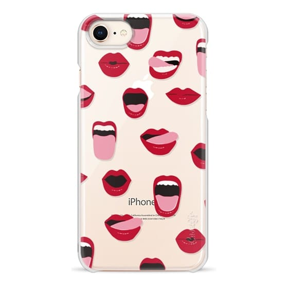 iPhone 8 Cases - Valentines Sexy Lips and Kisses Transparent Loves Pink Miniature Version