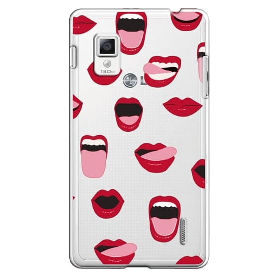 Optimus G Cases - Valentines Sexy Lips and Kisses Transparent Loves Pink Miniature Version