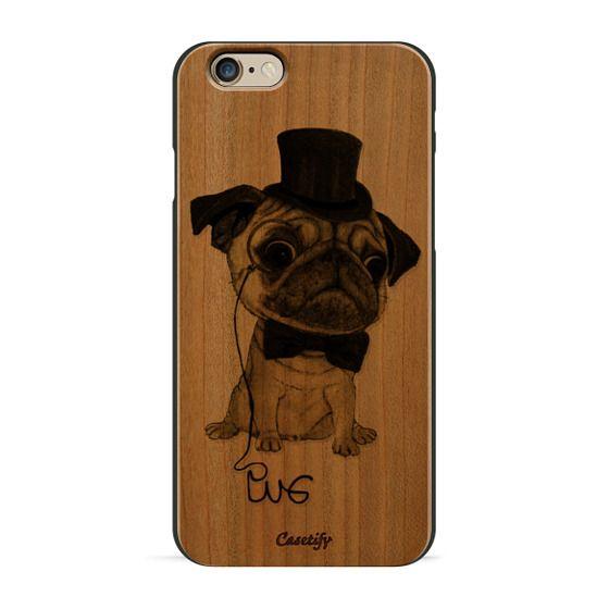 iPhone 6s Cases - Gentle Pug (wood)