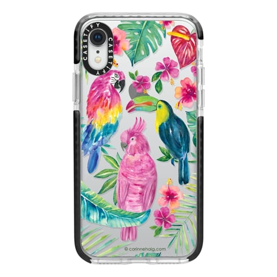 iPhone XR Cases - Tropical Birds Transparent