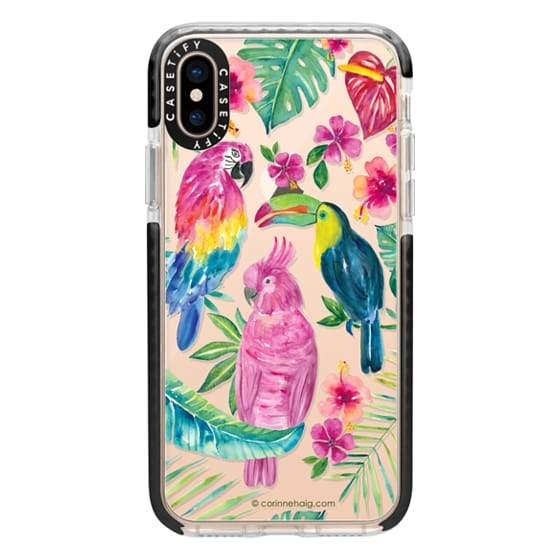 iPhone XS Cases - Tropical Birds Transparent