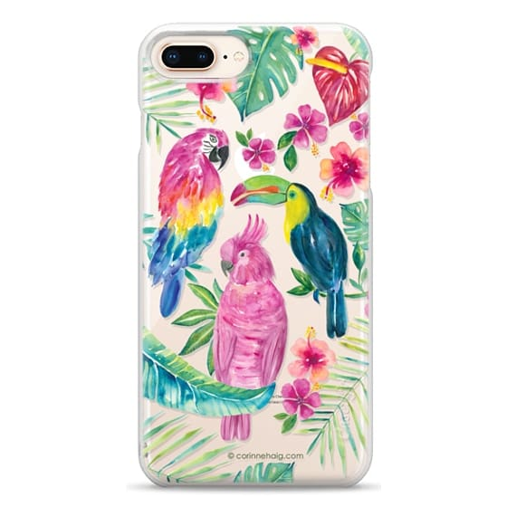 iPhone 8 Plus Cases - Tropical Birds Transparent