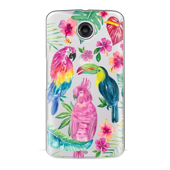 Nexus 6 Cases - Tropical Birds Transparent