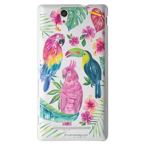 Sony C3 Cases - Tropical Birds Transparent