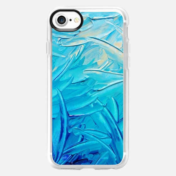 WATER FLOWERS -  Bright Bold Abstract Ocean Beach Waves Water Swirls Floral Swirls Neon Turquoise Blue Aqua Cerulean Colorful Painting - Wallet Case