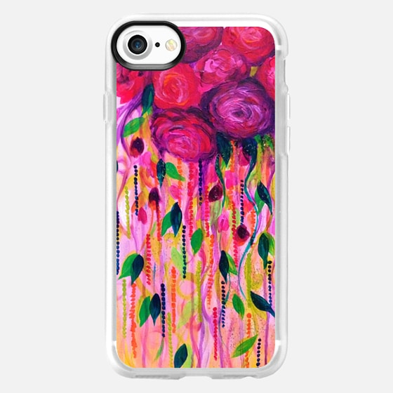 ROSES ARE RAD 2 - Beautiful Hot Pink Magenta Fuschia Burgundy Feminine Girlie Floral Abstract Swirls Bouquet Romance Love Flowers Colorful Painting -