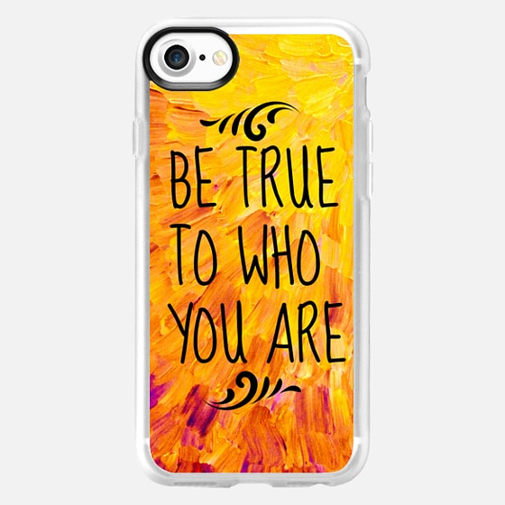BE TRUE TO WHO YOU ARE - Bold Colorful Sunshine Yellow Orange Splash Ocean Waves Beach Feathers Happy Inspiration Typography Abstract Painting - Wallet Case