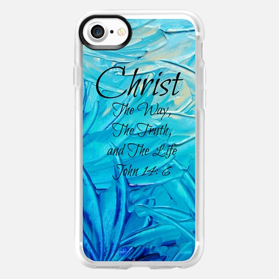 CHRIST TRUTH WAY LIFE Colorful Fine Art Christian Typography Bible Verse Jesus God Scripture Faith Turquoise Blue Ombre Swirls Abstract Painting - Wallet Case
