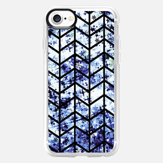 CHEVRON WONDERLAND 2 Indigo Winter Snowflakes Royal Blue Navy White Black Zig Zag Pattern Trendy Colorful Modern Chic Fine Art Painting - Wallet Case
