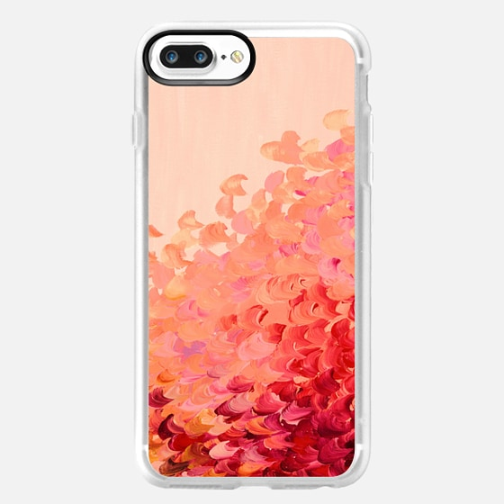 CREATION IN COLOR - CORAL PINK Lovely Elegant Colorful Fine Art Whimsical Crimson Red Peach Pretty Ocean Waves Sea Coastal Ombre Abstract Acrylic Painting Design -