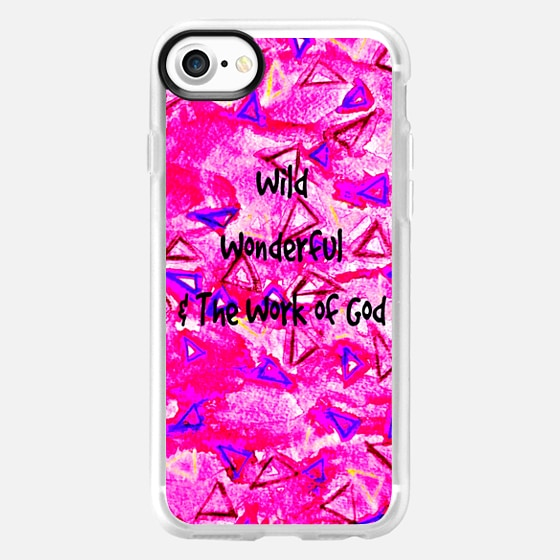 WILD WONDERFUL WORK OF GOD - Colorful Neon Bubblegum Hot Pink Whimsical Triangles Geometric Shapes Abstract Watercolor Painting Christian Inspiration Typography Girly Art - Wallet Case