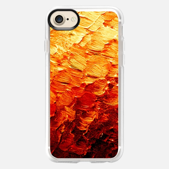 MERMAID SCALES 2 - Bold Colorful Autumn Burnt Orange Red Ombre Color Gradation Ocean Waves Coastal Abstract Textural Acrylic Painting Fall Chic Modern Mermaids Fantasy Fine Art Pattern - Wallet Case