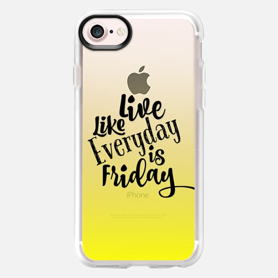 LIVE LIKE EVERYDAY IS FRIDAY - LEMON YELLOW Sunshine Ombre Abstract Transparent Art Typography Weekend Happy Days Friyay Cool Quote Font Relax Party Fun Teen Girly Chic Modern Design - Wallet Case