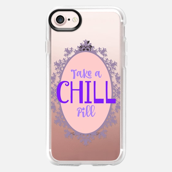TAKE A CHILL PILL 2 - Funny Girly Typography Relax Chill Out Calm Yourself Lavender Lilac Pink Quote Font Modern Winter Cold Weather Pastel Be Cool Elegant Minimalist Fun Advice Teen Design - Wallet Case