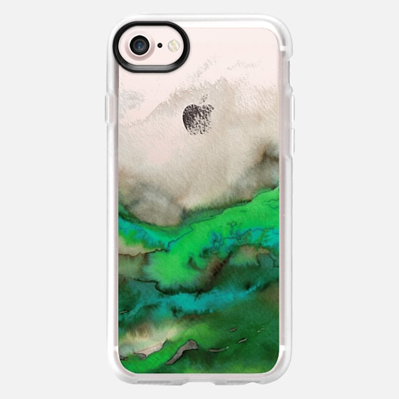 WINTER WAVES 6 Watercolor Green Turquoise Ocean Abstract Painting Colorful Ombre Transparent Spring Sea Coastal Lime Aqua Blue Gray Beige Marble Chic Modern Elegant Fine Art Design - Wallet Case