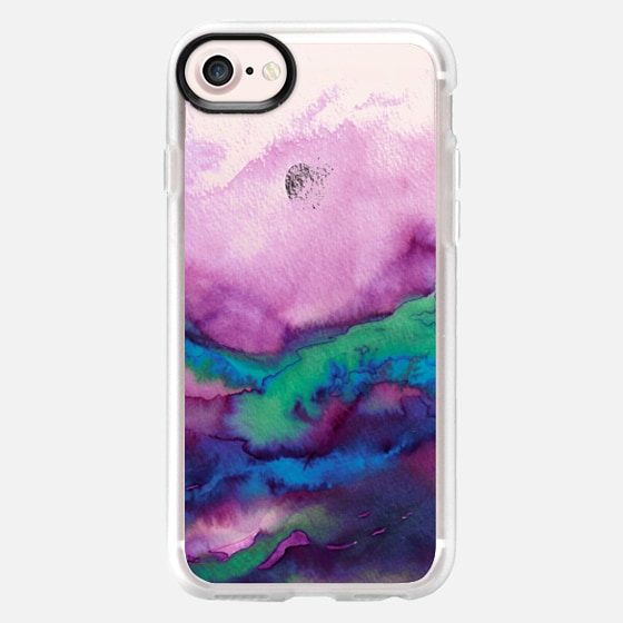 WINTER WAVES 2 Watercolor Purple Green Turquoise Blue Ocean Abstract Painting Colorful Ombre Transparent Sea Coastal Lime Aqua Indigo Marble Chic Modern Elegant Fine Art Design - Wallet Case