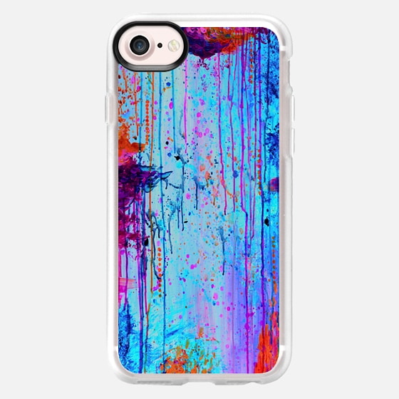 HAPPY TEARS 4- Neon Colorful Rain Clouds Rainbow Turquoise Aqua Magenta Purple Orange Drip Raining Autumn Abstract Painting Modern Sky Splatter Chic - Wallet Case
