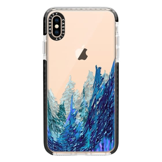 iPhone XS Max Cases - FOREST WATERCOLOR, Indigo Blue Purple Trees
