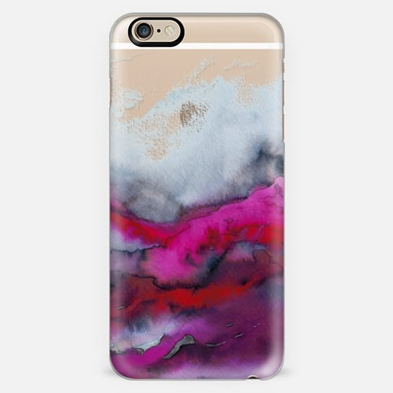 WINTER WAVES 1 Watercolor Hot Pink Red Black Ocean Abstract Painting Colorful Ombre Transparent Bold Sea Coastal Fuchsia Grey Crimson Marble Chic Modern Elegant Fine Art Design -