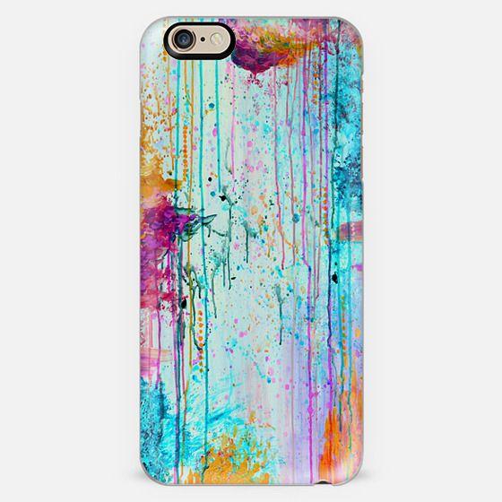 HAPPY TEARS 3- Colorful Rain Clouds Rainbow Turquoise Aqua Magenta Pink Drip Effect Raining Autumn Abstract Painting Modern Sky Splatter Girly Chic Design -
