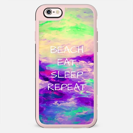 BEACH EAT SLEEP REPEAT, Cool Coastal Summer Abstract Fine Art Abstract Acrylic Painting Nautical Seaside Ocean Purple Turquoise Aqua Blue Typography Quote - New Standard Case