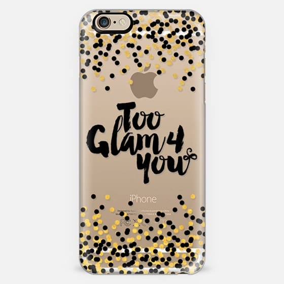 TOO GLAM 4 YOU Black Yellow Gold Color Glamorous Chic Polka Dots Typography Quote Style Fashion Feminine Transparent Modern Sparkle Girly Pattern Ebi Emporium Lovely Spots Art