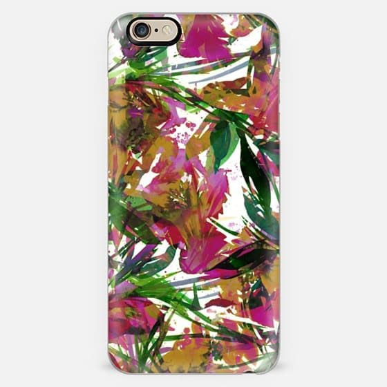 FLORAL FIESTA - EXOTIC GARDEN Bright Floral Watercolor Abstract Painting Spring Summer Garden Tropical Flowers Leaves Magenta Pink Yellow Green White Lovely Colorful Girly Nature Pattern Design -