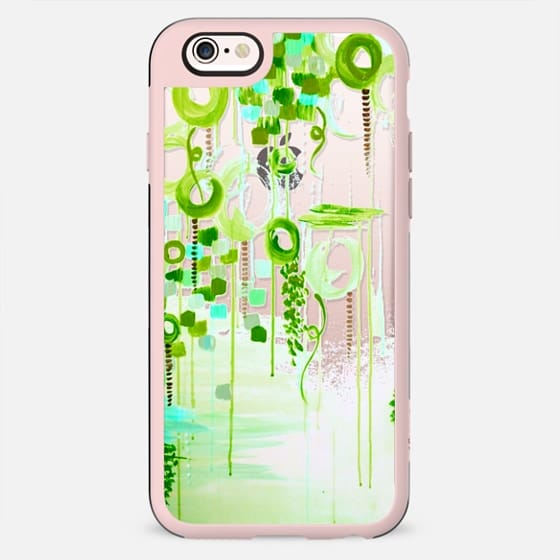 BUBBLEGUM POP - GREEN Colorful Girly Chic Whimsical Lime Acid Green Aqua Cream Swirls Abstract Art Painting Bubbles Clouds Transparent Elegant Feminine Polka Dots Circles Design - New Standard Case