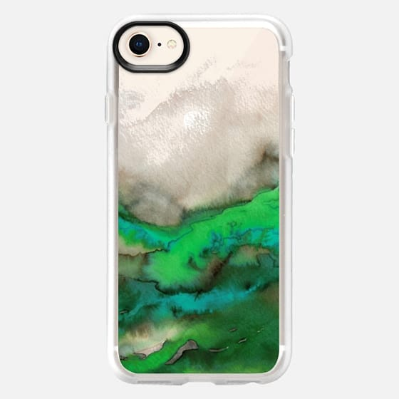 WINTER WAVES 6 Watercolor Green Turquoise Ocean Abstract Painting Colorful Ombre Transparent Spring Sea Coastal Lime Aqua Blue Gray Beige Marble Chic Modern Elegant Fine Art Design - Snap Case