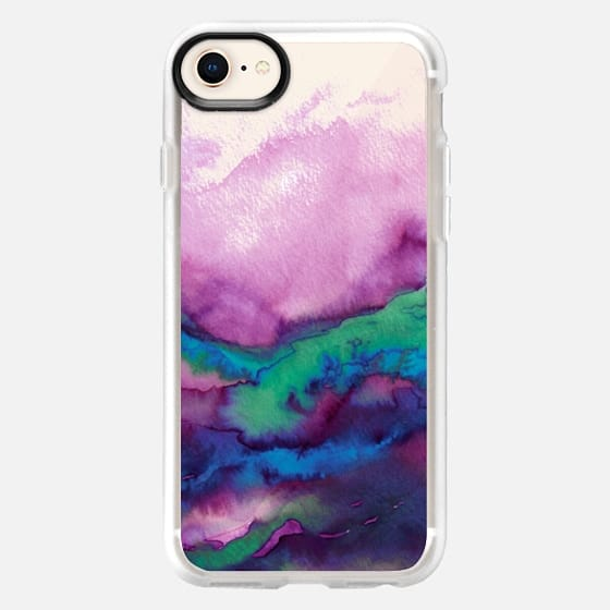 WINTER WAVES 2 Watercolor Purple Green Turquoise Blue Ocean Abstract Painting Colorful Ombre Transparent Sea Coastal Lime Aqua Indigo Marble Chic Modern Elegant Fine Art Design - Snap Case