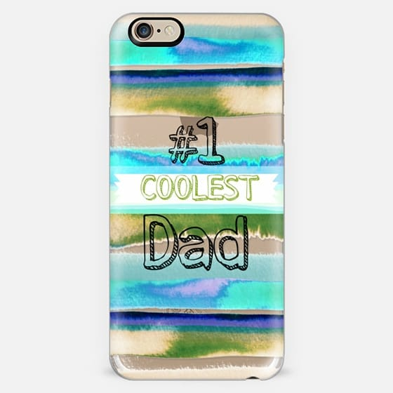 #1 COOLEST DAD Father's Day Love Typography Best Daddy Beach Stripes Pattern Blue Aqua Green Grey Summer Cool Modern Abstract Painting Quote Transparent Ebi Emporium Fun Cool Design -
