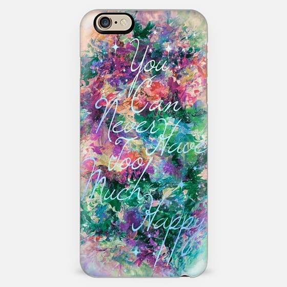 TOO MUCH HAPPY- AQUA PURPLE GREEN- Colorful Typography Positivity Smile Boho Chic Shimmer Modern Girly Abstract Festive Rainbow Pretty Sparkle Stars -