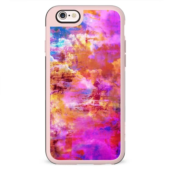 OFF THE GRID 5 Cloudy Sky Summer Whimsical Pink Orange Purple Clouds Abstract Watercolor Acrylic Fine Art Painting Nature Girly Chic Swirls Modern Design