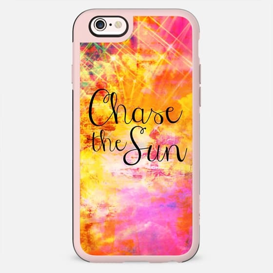 CHASE THE SUN, Colorful Sunshine Sky Clouds Abstract Pink Orange Fine Art Painting Whimsical Summer Typography Quote Elegant Pretty Modern Design - New Standard Case