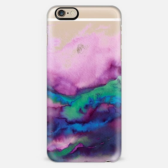 WINTER WAVES 2 Watercolor Purple Green Turquoise Blue Ocean Abstract Painting Colorful Ombre Transparent Sea Coastal Lime Aqua Indigo Marble Chic Modern Elegant Fine Art Design -