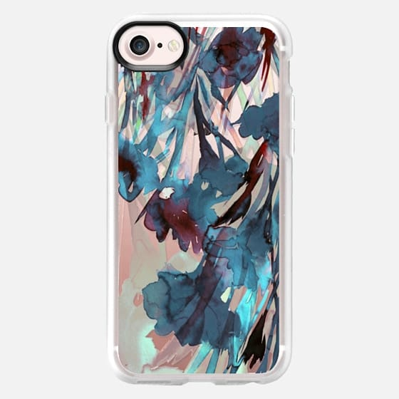DANCING IN THE GARDEN 4, TEAL DEEP BLUE CRIMSON RED Colorful Floral Watercolor Abstract Flowers Painting Botanical Lovely Fresh Nature Ebi Emporium - Classic Grip Case