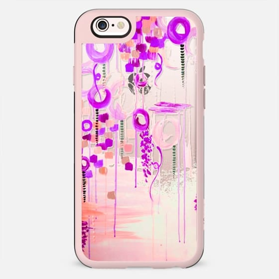 BUBBLEGUM POP - PURPLE Pastel Colorful Girly Chic Whimsical Pink Orchid Plum Cream Swirls Abstract Art Painting Bubbles Clouds Transparent Elegant Feminine Polka Dots Circles Design - New Standard Case