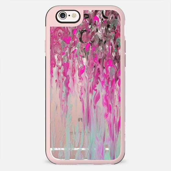RIBBONS THROUGH RAINSTORMS - Bold Colorful Hot Pink Black Swirls Breast Cancer Awareness Abstract Art Painting Girly Chic Modern Transparent Rain Clouds Whimsical Feminine Design - New Standard Case