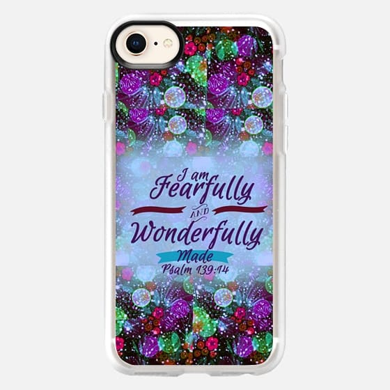 I AM FEARFULLY AND WONDERFULLY MADE 3 - Psalm 139:14 Whimsical Fine Art Colorful Floral Pattern Periwinkle Lavender Green Purple Christian Bible Verse Scripture Jesus Christ God Inspiration - Snap Case