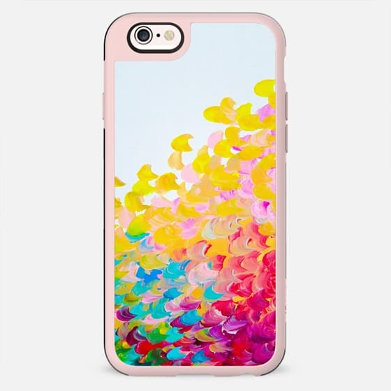 CREATION IN COLOR Bold Rainbow Multicolor Ocean Waves Splash Sea Ombre Colorful Bright Spring Summer Yellow Red pink Green Turquoise White Abstract Painting  - New Standard Case