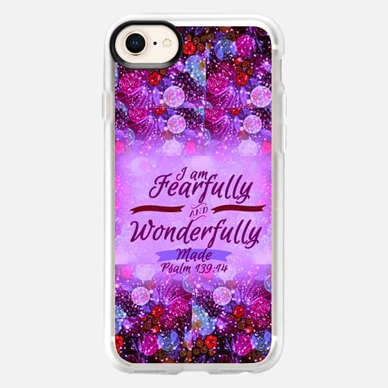 I AM FEARFULLY AND WONDERFULLY MADE 4- Psalm 139:14 Whimsical Fine Art Colorful Floral Pattern Lavender Magenta Purple Christian Bible Verse Scripture Jesus Christ God Inspiration - Snap Case