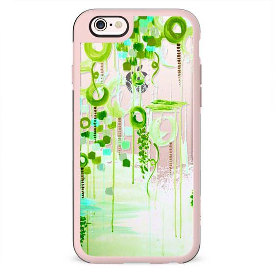 BUBBLEGUM POP - GREEN Colorful Girly Chic Whimsical Lime Acid Green Aqua Cream Swirls Abstract Art Painting Bubbles Clouds Transparent Elegant Feminine Polka Dots Circles Design
