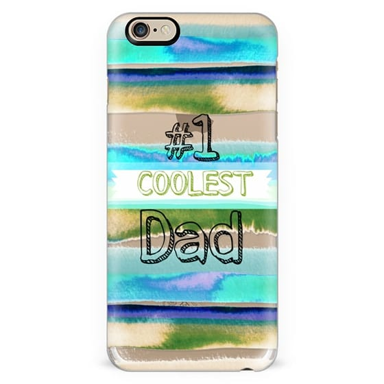 #1 COOLEST DAD Father's Day Love Typography Best Daddy Beach Stripes Pattern Blue Aqua Green Grey Summer Cool Modern Abstract Painting Quote Transparent Ebi Emporium Fun Cool Design