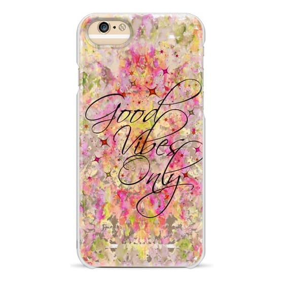 iPhone 6s Cases - GOOD VIBES ONLY 3 Typography Watercolor Painting Transparent Pink Yellow Green Red Sparkle Stars Positivity Inspiration Modern Abstract Mandala Swirls Boho Chic Girly Ebi Emporium
